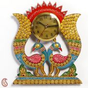 Twin Peacock Wall Clock In Rajastani Clay And Wood Craft