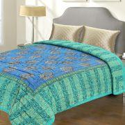 Sea Green And Blue Rajastani Double Bed Razai