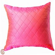 Coral Red Quilted Poly Silk Decorative Cushion Cover Set