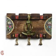 Tribal Art Wood And Metal Key Rack With Painted Motifs