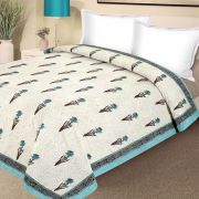 Pure Cotton Block Print Double Bed Razai In Shades Of Blue