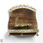 Hand Painted Decorative Wood Shelf With Bells And Painted Motifs