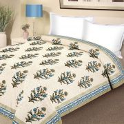 Block Print Pure Cotton Double Bed Razai In Blue And Green