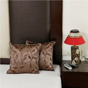 Charming Brown Embroidered Cushions Cover Set In Silk