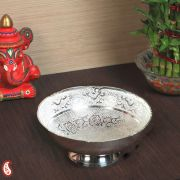 Scallop Edged Silver Plated Brass Round Fruit Bowl