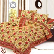 Mughal Print Pure Cotton Double Bed Sheet Set In Buff And Red