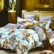 Blue Cotton Double Bedsheet With Brown Floral Print