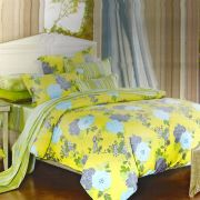 Yellow & Blue Cotton Double Bedsheet With Floral Print