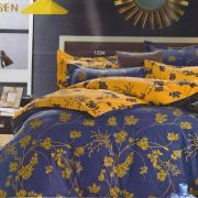 Beautiful Yellow & Blue Cotton Double Bedsheet With Leaf Print