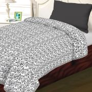 White & Black Cotton Jaal & Chekered Print Single Bed Dohar