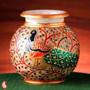 Hand Painted Peacock Marble Pot With Gold Paint And Kundan Work