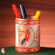Ganpati Motif Pure White Marble Pen Holder With Kundan Work
