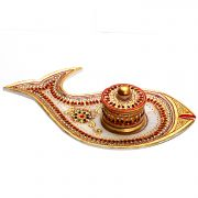 Decorative Fish Plate With Bowl And Lid Made From Pure White Marble