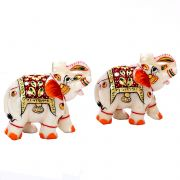 Marble Hand Painted Elephant- Set Of 2