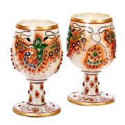 Pure White Marble Wine Glasses Set With Handpainted Motifs