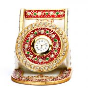 Two-in-One Mobile Holder And Clock Made With Pure White Marble And Handpainted Motifs.