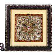 Pure White Marble Wall Clock With Handpainted Motifs