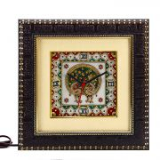 Pure White Marble Wall Clock With Peacock Motifs