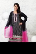 Jet Black Cotton Silk A-Line suit with all-over white embroidery