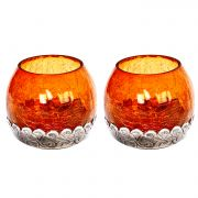 Amber Glass And Oxidized Metal Tea Light Holder (Set Of 2)