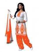 Salwar Studio White & Orange Salwar Kameez Suit With Dupatta Super7-1001C