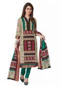 Salwar Studio Fawn & Maroon Cotton Unstitched Churidar Kameez With Dupatta