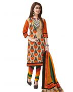 Salwar Studio Fawn & Orange Cotton Unstitched Churidar Kameez With Dupatta