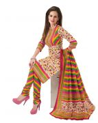 Salwar Studio Multi Color Cotton Unstitched Churidar Kameez With Dupatta