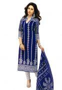 Salwar Studio Cobalt Blue & White Cotton Dress Material
