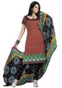 Salwar Studio Red & Black Art Crepe Unstitched Churidar Kameez With Dupatta _Mega-1015