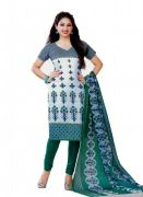 Salwar Studio Green & White Cotton Dress Material S-205