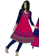 Salwar Studio Pink & Blue Semi Stitched Anarkali Suits SZ-5950
