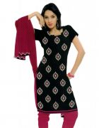 Salwar Studio Black & Pink Cotton  Dress Material ES-9049