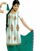 Salwar Studio Off White & Aqua Green Cotton  Dress Material ES-9052