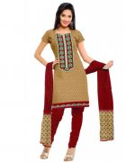 Salwar Studio Beige & Red Cotton  Dress Material ES-9054
