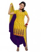 Salwar Studio Yellow & Blue Cotton  Dress Material ES-9058