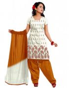 Salwar Studio White & Mustard Cotton  Dress Material ES-9059
