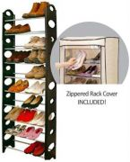 Deluxe Stackable10 Tier Shoe Rack For 30 Pairs With Cover