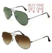 Buy 1 Greenish Aviator Sunglasses And Get 1 Brown Aviator Sunglasses Free