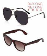 Buy 1 Black Aviator Sunglasses And Get 1 Brown Wayfarer Sunglasses Free