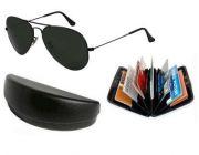 Trendy Black Classic Aviator Style Sunglasses With Aluminium Wallet