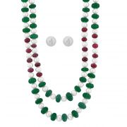 Jpearls Ruby Emerald Pearl Necklace
