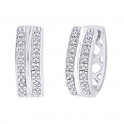 Hoop Silver With Cz Diamond Silver Earring For Womens Ef8855