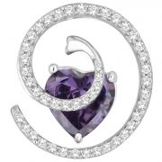 Hoop Silver  Cz Diamond Purple Pendant For Women Pf13122