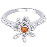 Hoop Silver With Cz Diamond Orange Ring For Womens Rf8958