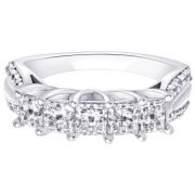 Hoop Silver With Cz Diamond Silver Ring For Womens Rw1227