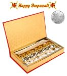 Ghasitaram Diwali Special Red Bandhani Assorted Dryfruit Sweets Gift Box With Free Silver Plated Coin 800gms