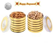 Punjabi Ghasitaram Halwai Diwali Special Pistachious & Almonds Golden Round Jar With Free Silver Plated Coin