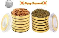 Punjabi Ghasitaram Halwai Diwali Special Almonds & Raisins Golden Round Jar With Free Silver Plated Coin