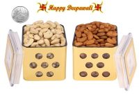 Punjabi Ghasitaram Halwai Diwali Special Cashewnuts & Almonds Golden Square Jar With Free Silver Plated Coin